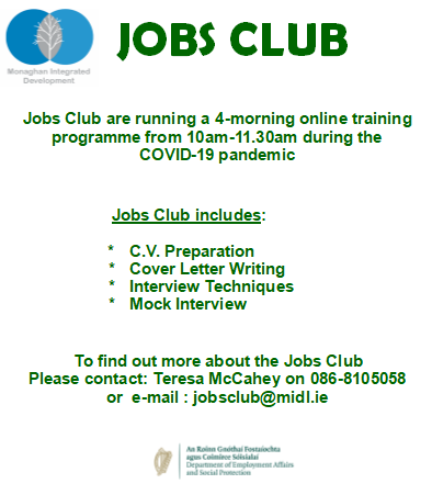 Jobs Club online training poster
